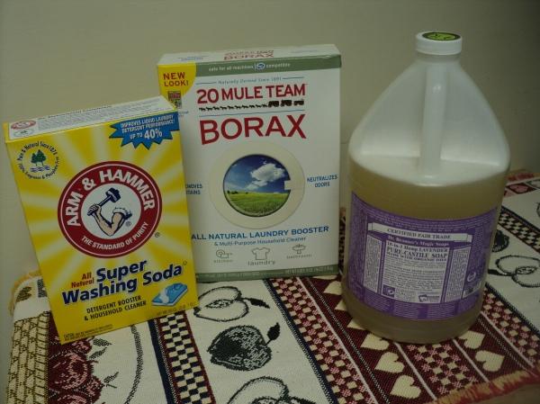 Washing Soda, Borax and Castile soap