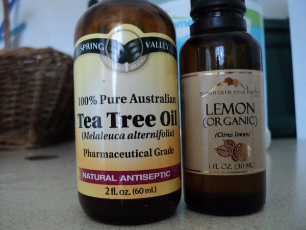 10 drops tea tree oil and 10 drops lemon essential oil