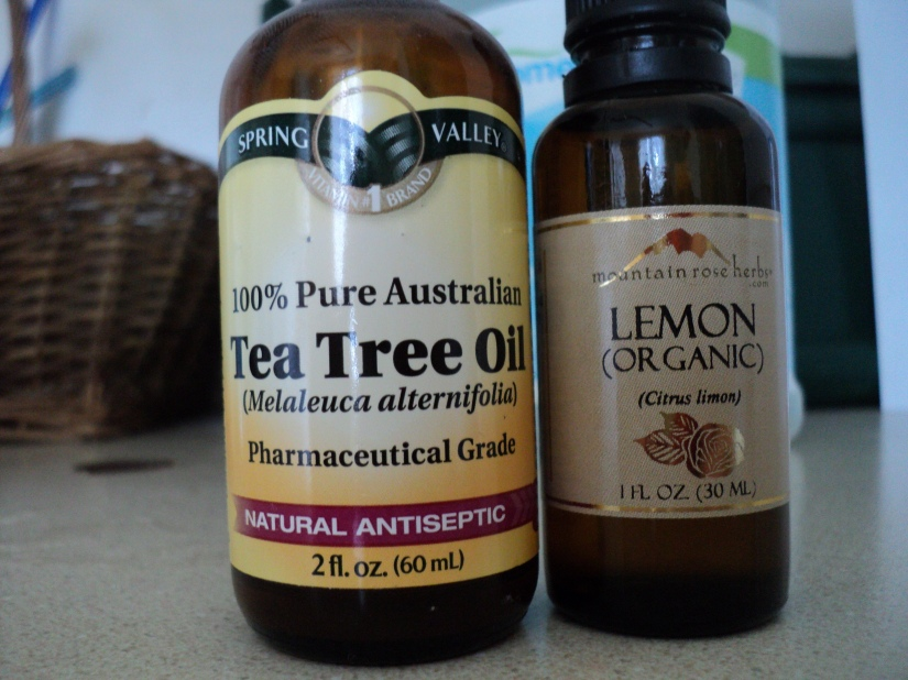 10 drops tea tree oil and 10 drops lemon essential oil